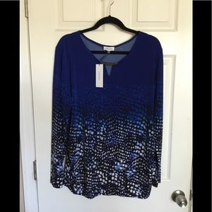 Calvin Klein print blouse NWT. Sz. XL $35